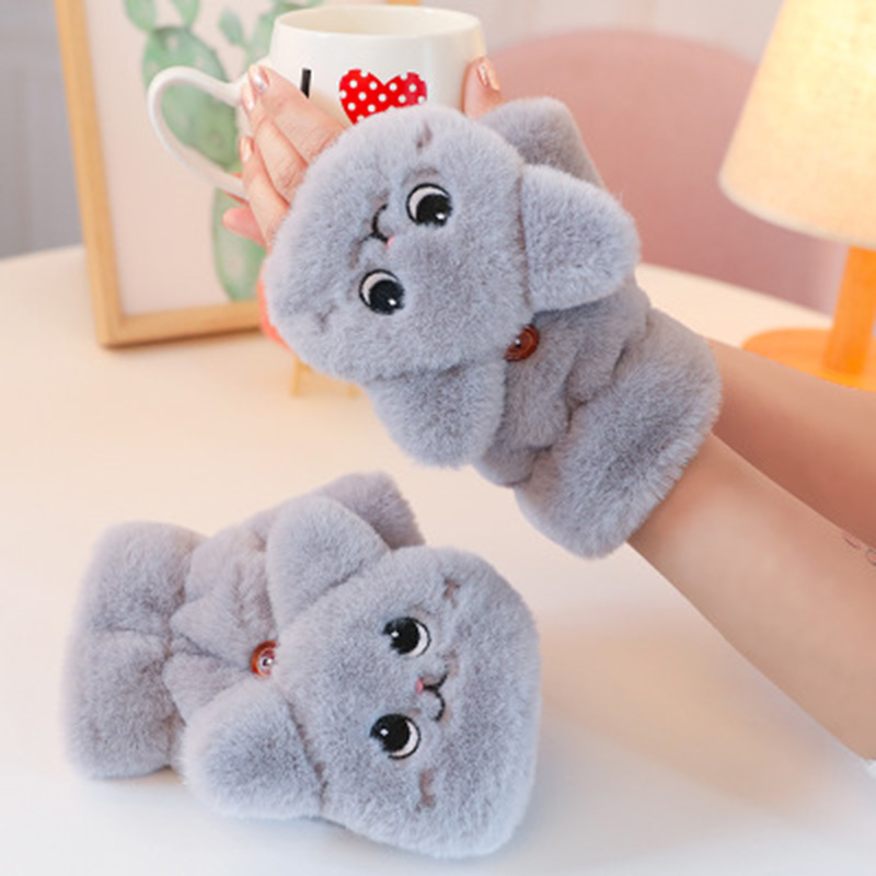 Winter Warm Soft Rabbit Fur Knit Mittens Women Flip Half Finger Driving Gloves Plush Thick Cute Cat Touch Screen Gloves E65