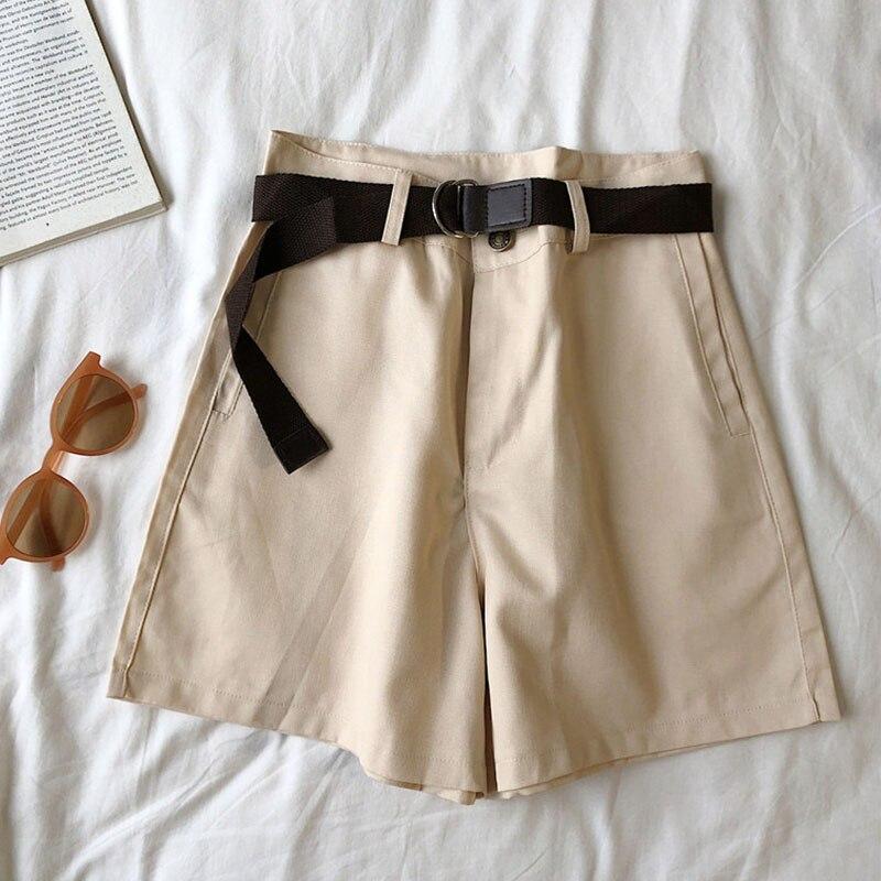 Genayooa Casual Shorts Women Fitness Wide Leg Black High Waist Shorts With Belt Office Lady Vintage Shorts Feminino Plus Size 5