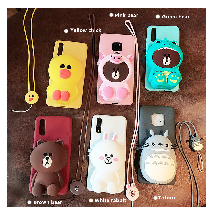 ZCASE Cute Cartoon 3D Bear Wallet Soft Silicone Phone <font><b>Case</b></font> For <font><b>Samsung</b></font> Galaxy J7 J3 A5 <font><b>A6</b></font> Plus A7 2018 2016 <font><b>2017</b></font> S7 Back cover image