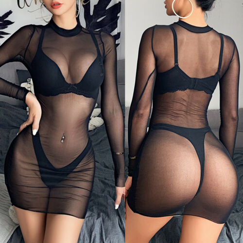 Sexy Women Mesh Sheer Bikini Cover Up Swimwear Bathing Suit Beach Dress Clubwear