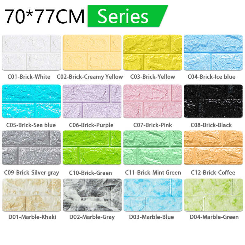 Adesivos de parede 3d 70*77cm, padrão de pedra de tijolo 3d autoadesivo, papel de parede à prova d' água, tijolo 3d faça você mesmo papéis de parede de pedra para quarto de crianças