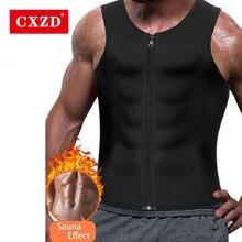 CXZD Men Waist Trainer Vest for Weight loss Hot Neoprene Corset Body Shaper Zipper Sauna Tank Top Workout Shapers Shirt Shapers