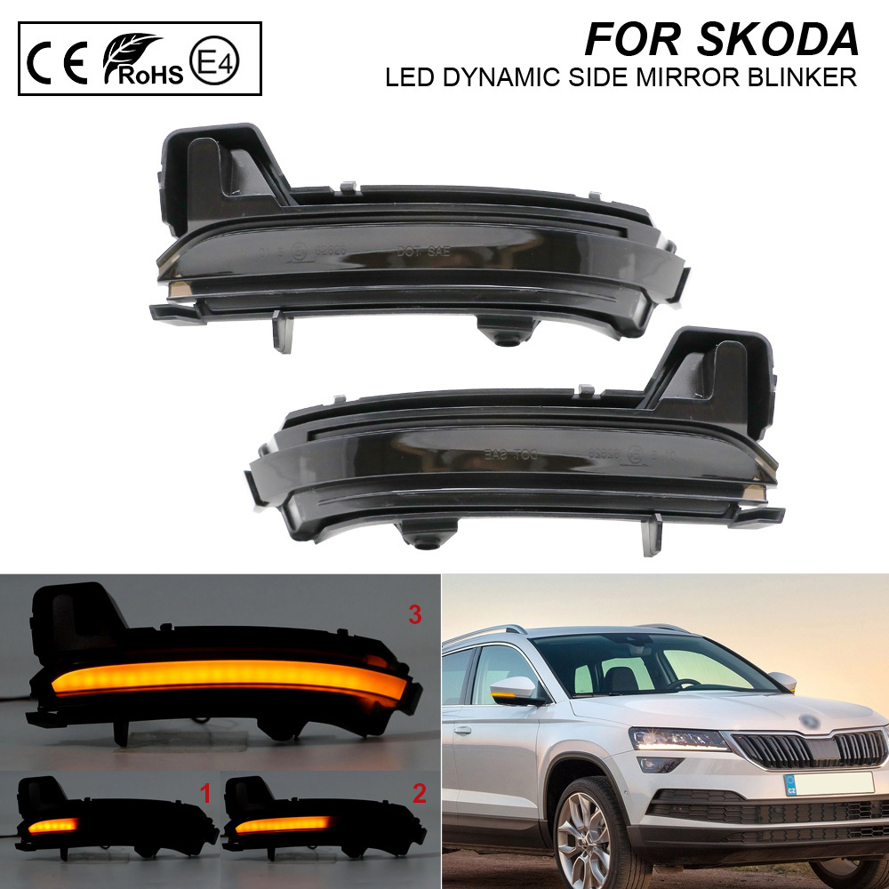 2X Dynamic LED Side Mirror Blinker Smoke Lens Turn Signal Lamp For Skoda Kodiaq 2016- Karoq  2017-