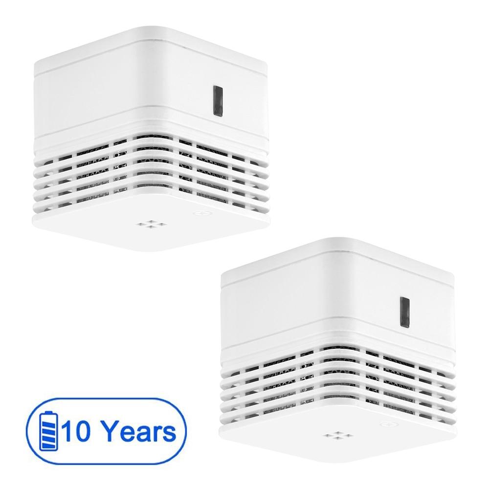 CPVan M10 2pcspcs/Lot Smoke Detector 10 Year Battery Fire Alarm Sensor EN14604 CE Certified 85dB Photoelectric Detector Smoke