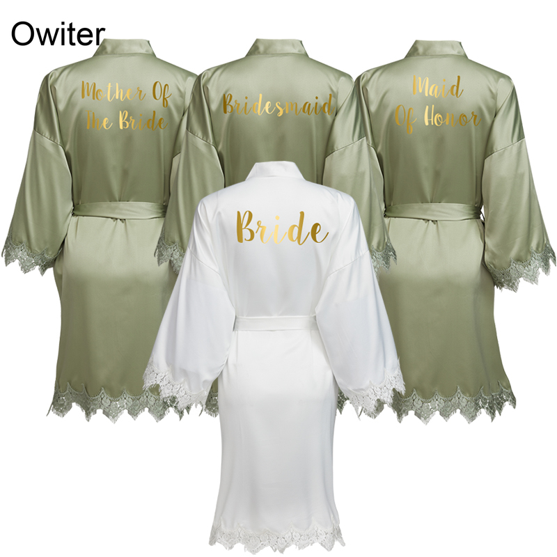 Owiter GREEN Women Matt Satin Robe With Lace Trim Robe Kimono Bridal Wedding Robe Bride Bridesmaid Robes Bathrobe Sleepwear
