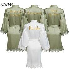Owiter GREEN Women Matt Satin Robe with Lace Trim Robe Kimono Bridal Wedding Robe Bride Bridesmaid Robes Bathrobe Sleepwear