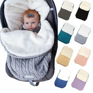 Image 3 - Baby Sleeping Bags Envelope Winter Warm Footmuff Toddler Blanket Wool Sleepsack Button Knit Swaddle Wrap Swaddling Stroller Wrap