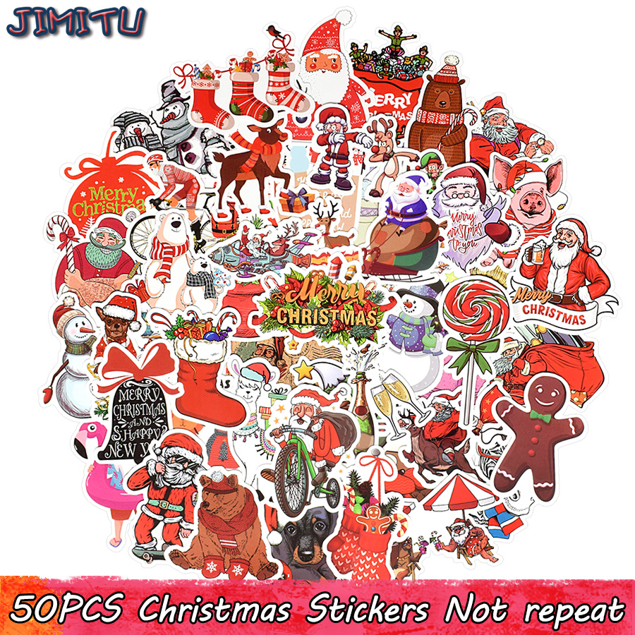 50 PCS Christmas Sticker Cartoon Animal Decal Stickers Gifts For Children DIY Scrapbooking Laptop Tablet Suitcase Water Bottle