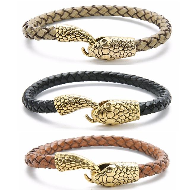 Bracelet cuir tressé  serpent  1