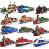 Zestaw pociągów miejskich pocisk parowy pojazd cargo dworzec kolejowy model klocki ceglane tory zestawy kolejowe bez silnika