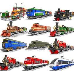 City train set steam bullet vehicle cargo railway station model building blocks brick tracks rail no motor kits carriage technic