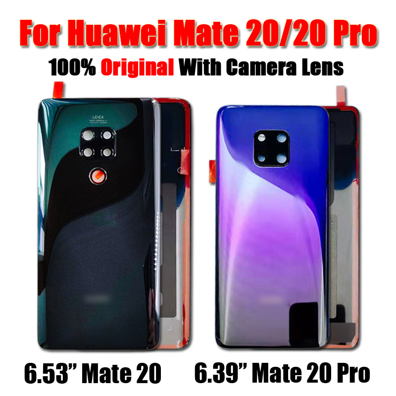 Original For Huawei Mate 20 Battery Cover Mate20 Pro Back Glass Panel For Huawei Mate20 Rear Door Housing Case With Camera Lens