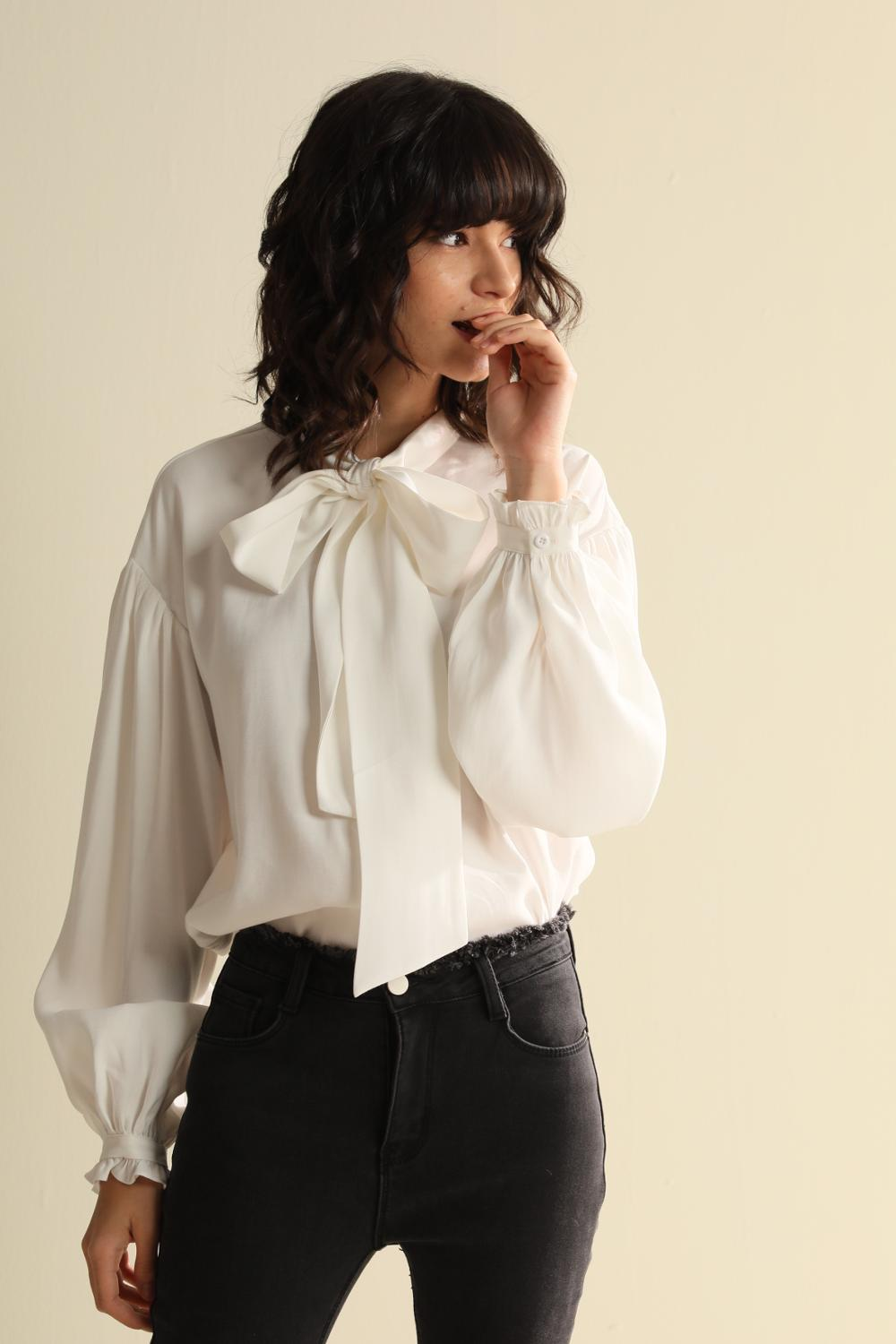 CMAZ 2020 Spring And Summer Women's Palace Style Sweet Bow Tie Long Sleeve Female Shirts CMAZ19C7189