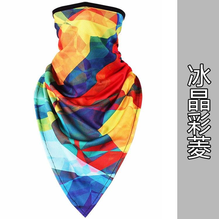 Новое ледяное шелковое треугольное полотенце крутой дышащий платок на голову воротник Мужская и женская маска от Солнца маска ошейник - Цвет: Ice crystal color