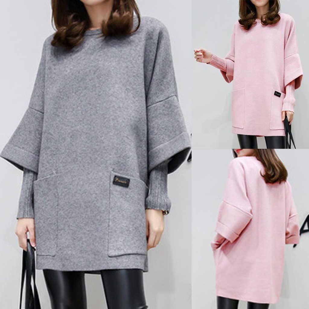 Vrouwen Fake Twee Stukken Jurk Trui Herfst Mode Ronde Hals Lange Mouw Pocket Pure Kleur Jurk Winter Outfits 902