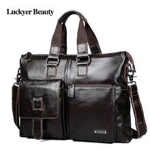 LUCKYERBEAUTY men bag briefcase leather computer ba