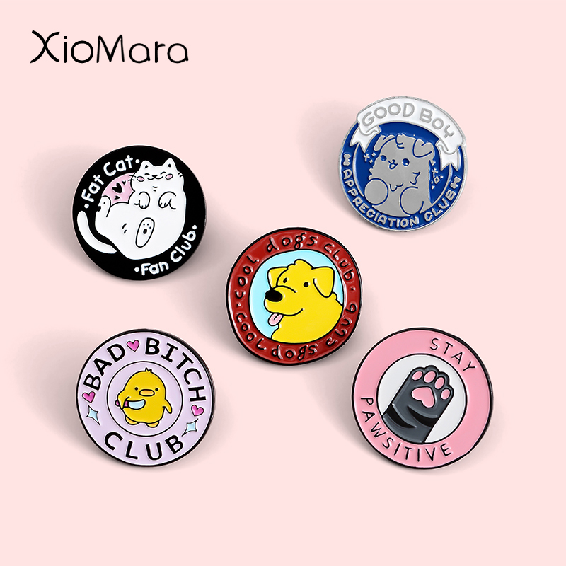 Adorable Family Members Enamel Pins Paw Dog Cat Chicken Pet Animal Jewelry Round Custom Brooches Lapel Pin For Friends Gift 1
