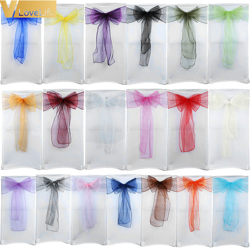 50x Cover Chairs Bow Organza Chair Sashes Wedding Chair Knot Band Belt Ties For Weddings Banquet High Quality Decoration