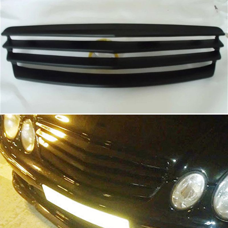 Use for Benz E-class <font><b>W211</b></font> racing grills 2003--2006 year <font><b>E55</b></font> <font><b>AMG</b></font> sedan carbon fibre front center grill cover accessorie body kit image