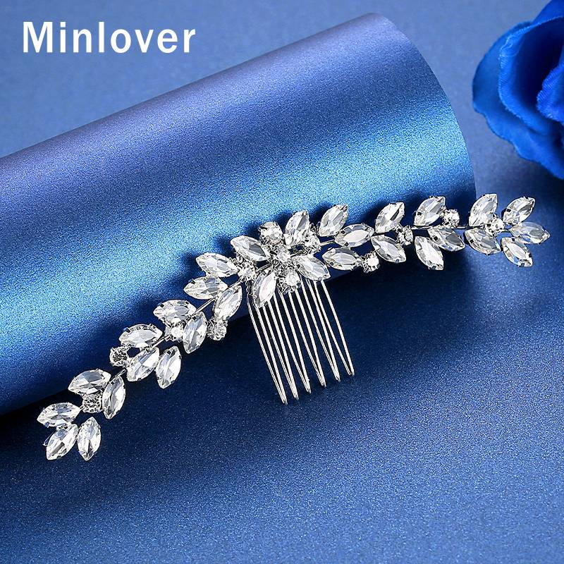 Minlover Silver Color Crystal Leaf Marquise Hair Combs Hairpin for Bride Elegant Wedding Hair Accessories Bridal Ornaments FS238