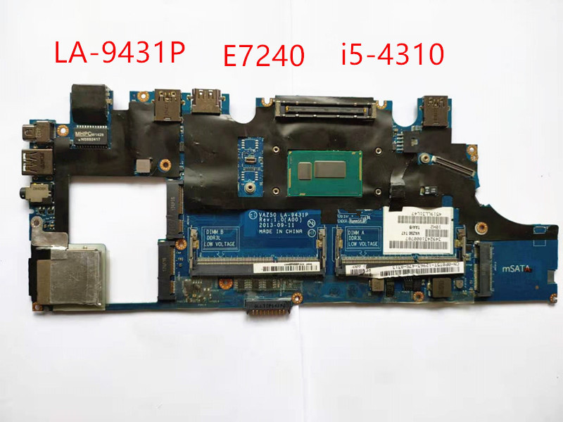 for dell latitude E7240 motherboard i5-4310 CN-0GMYR8 0GMYR8 VAZ50 LA-9431P laptop mainboard 100% well working 1