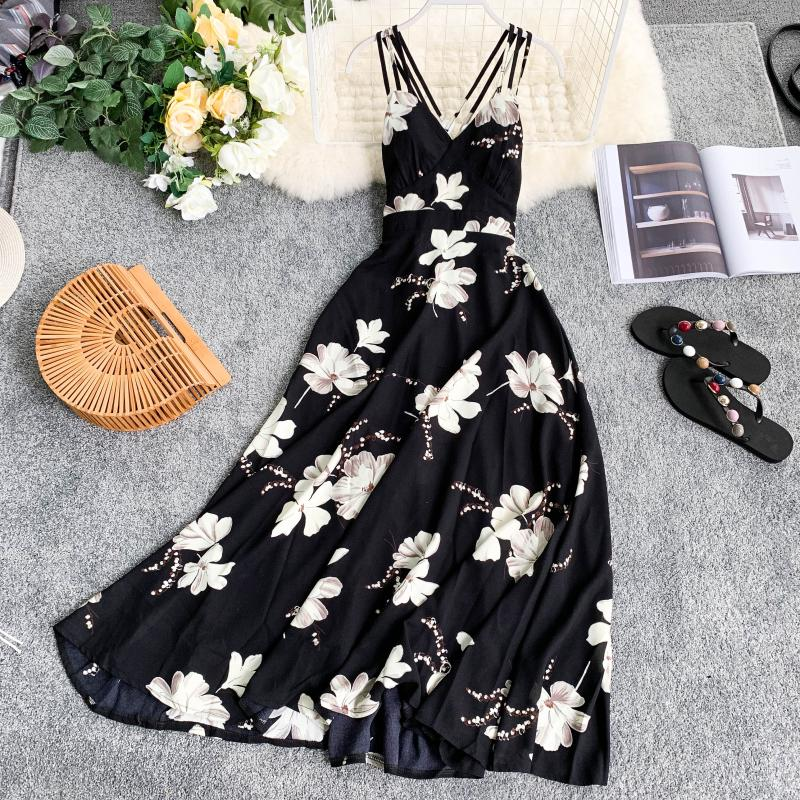 Summer Dress Women V Neck Sexy Floral Printed Sleeveless Long Dress Casual Elegant Bohemian Beach Party Ladies Dresses Vestidos