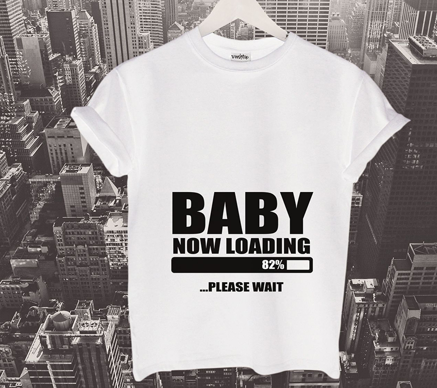 Baby Loading T Shirt Parents Maternity Pregnancy Gift Shower Mommy Family Tee