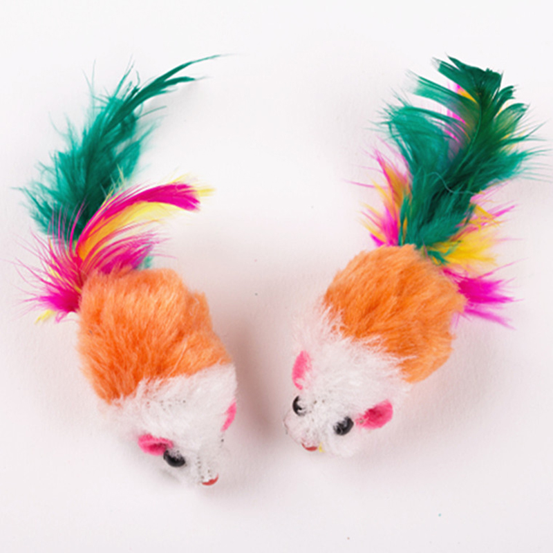Hot 10 Pcs Colored Feather Tail Mouse Cats Toy Funny Small Pet Toys D6