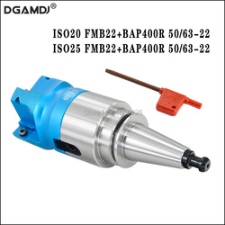 1 zestaw ISO20 ISO25 FMB22 45L narzędzie do frezowania uchwyt + BAP400R50/63-22-4T kątowa głowica tnąca do frezowania CNC