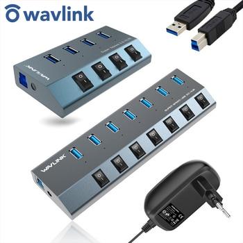 Wavlink Aluminum USB HUB 3.0 with power adapter On/Off Switch High Speed 4 /7 Ports EU/US/UK plug for MacBook Laptop
