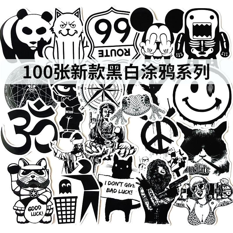 Non-repetitive Black-and-white Graffiti Stickers Amazon Express Explosive Waterproof Portable Luggage Box Skateboards