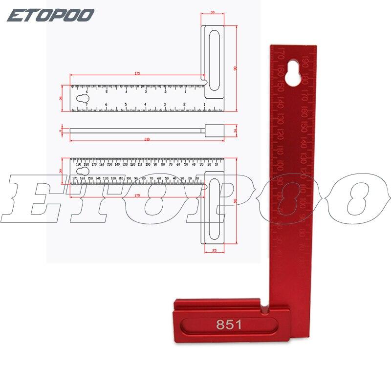1 шт. алюминиевый сплав 90 градусов квадраты L форма прямой угол линейка Scriber калибр плотник деревообрабатывающие инструменты - Цвет: 200MM Metric inch