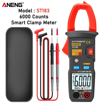 ANENG ST183 Digital Clamp Meter AC Current 6000 Counts True RMS Multimeter DC/AC Voltage Tester Hz Capacitance NCV Ohm Tests habotest ht118c profesional ncv digital multimeter 6000 counts ac dc multitester frequency transistor capacitance tester