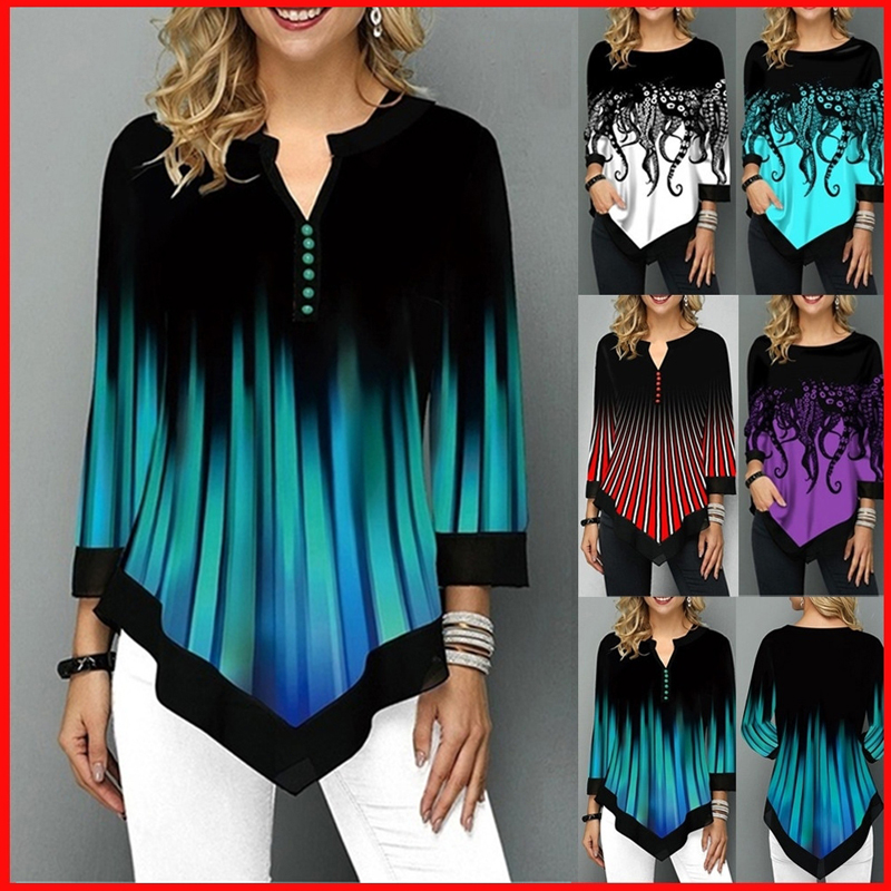 Spring Summer 3/4 Sleeve Print T Shirts Irregular Women Clothing Fashion Casual...