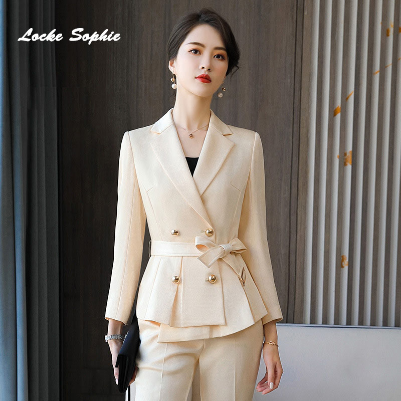 Women's Plus size Slim fit Blazers coats 2020 Spring cotton Splicing Waist belt Small Suits jackets ladies Skinny Office Suits