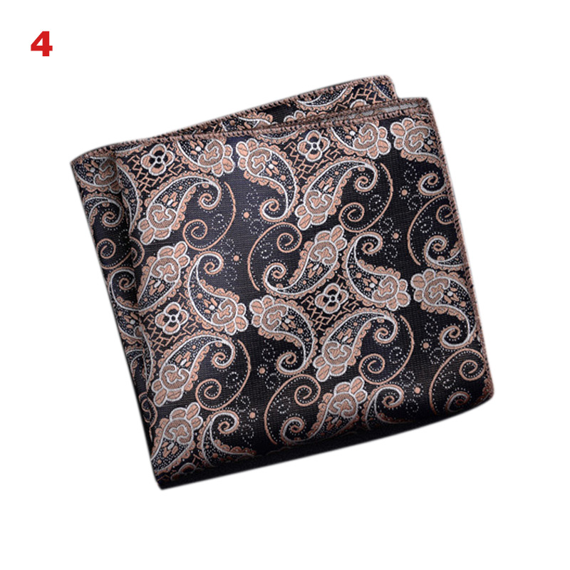 Men's Handkerchief  Striped Floral Printed Hankies Polyester Business Pocket Square Chest Hanky FEA889
