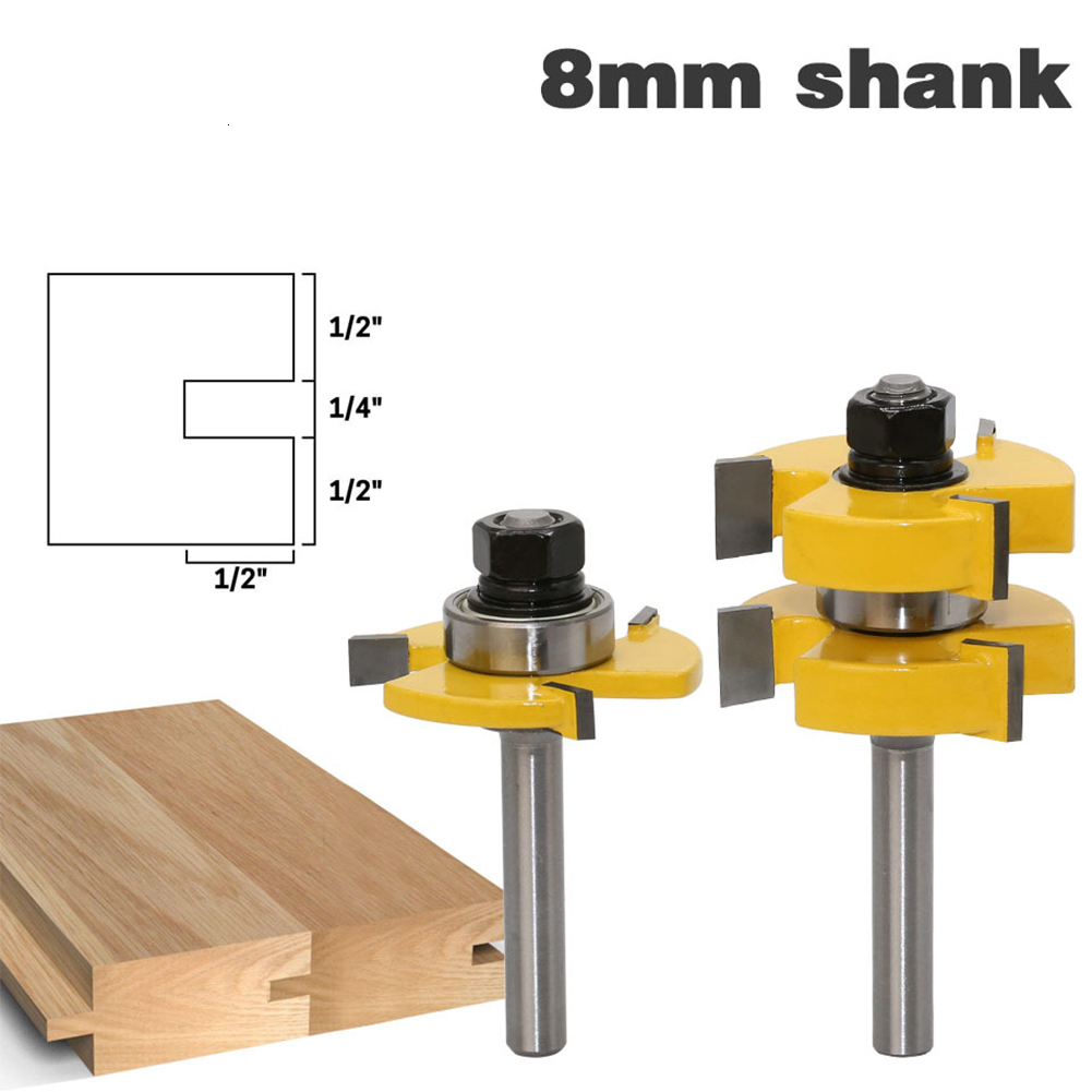 2pcs 8mm Shank Milling Cutter Tongue & Groove Joint Assembly Router Bits Set 1/4 Shake T-slot Wood Cutters Woodworking Tools