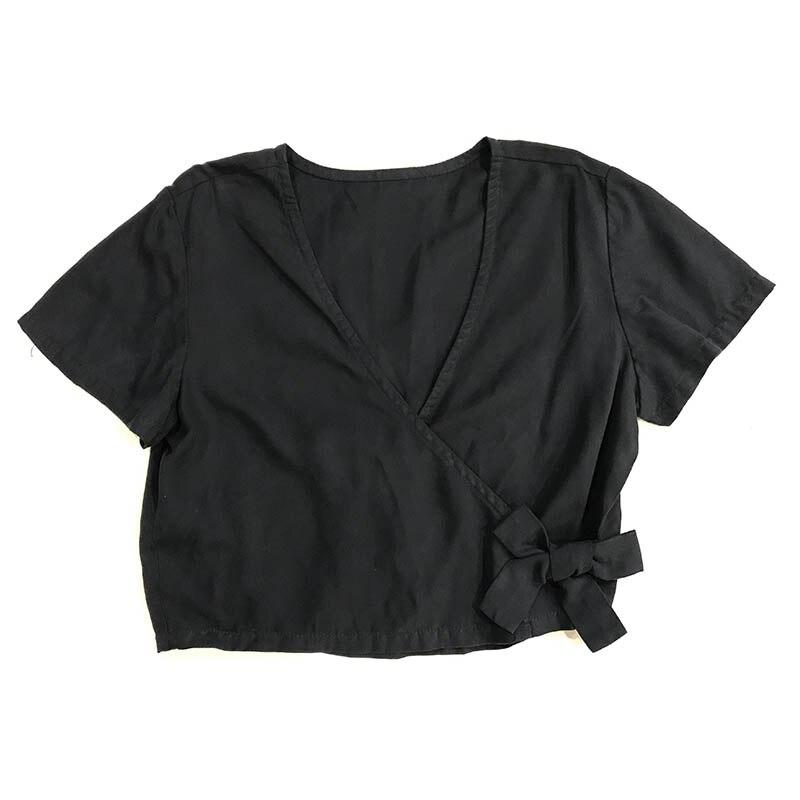 Automne hiver femmes Denim fantaisie chemise Kimono décontracté manches courtes 100% coton lavé noir femme Blouse Top