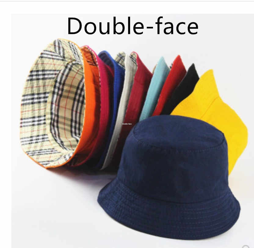 Plaid Bucket Hat Double-side Unisex Basin Cap Men Women Fishing Hunting Outdoor Hat Flat Top Sun Travel Soft Multi-face Chapeau