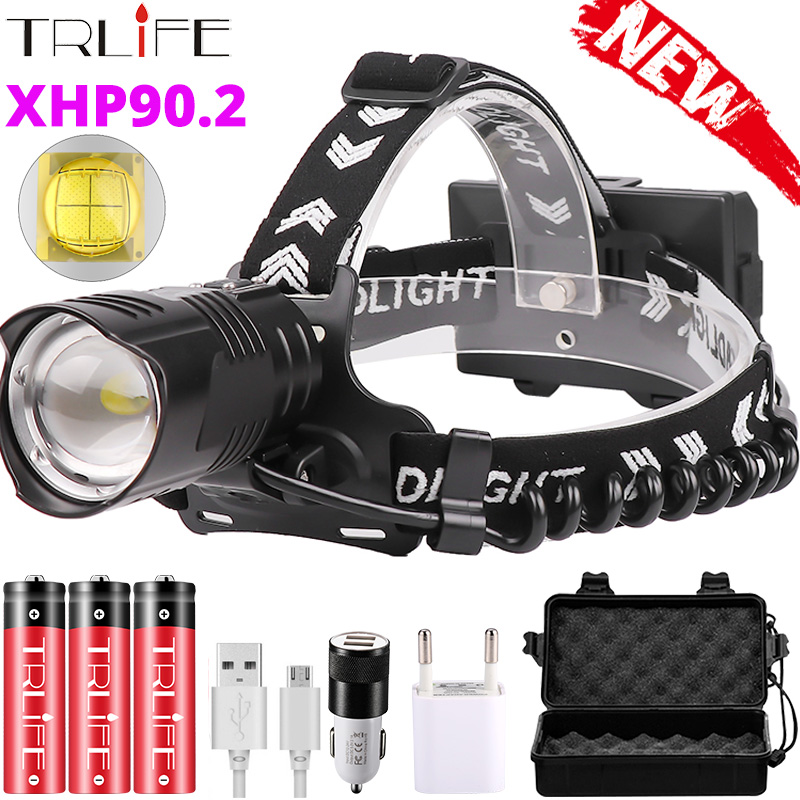 Upgrade XHP90 2 Powerful Led Headlamp 8000LM Head lamp USB Rechargeable Headlight Waterproof Zoom Fishing Light by 18650 Battery
