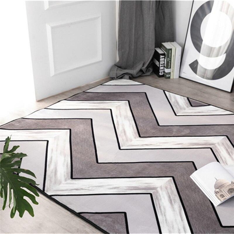 Modern velvet floor mat Thickened wavy pattern bedroom mat Bedside living room coffee table rug non slip custom made carpet in Carpet from Home Garden