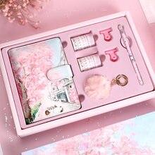 Nova cor dentro da página flor de cerejeira manual caixa de presente conjunto japonês livro de folhas soltas antigo bonito estudante caderno planejador