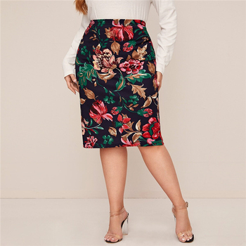 Plus Size Multicolor Floral Print Pencil Skirts