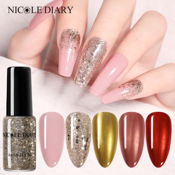 NICOLE DIARY różowe złoto lakiery do paznokci cekiny perły Shimmer Shinning lakiery do paznokci manicure artystyczna dekoracja Liquid Glitter tanie i dobre opinie CN (pochodzenie) 1 Bottle Eco-friendly 8 ml 50860