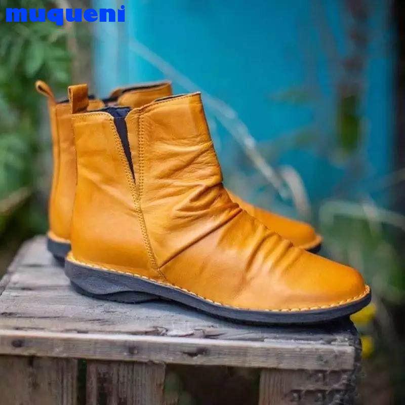 Women Boots 2021 New Autumn Winter Retro Ankle Martin Boots Casual Women Shoes Low Heels botas de mujer Plus Size 34-43 NL3231