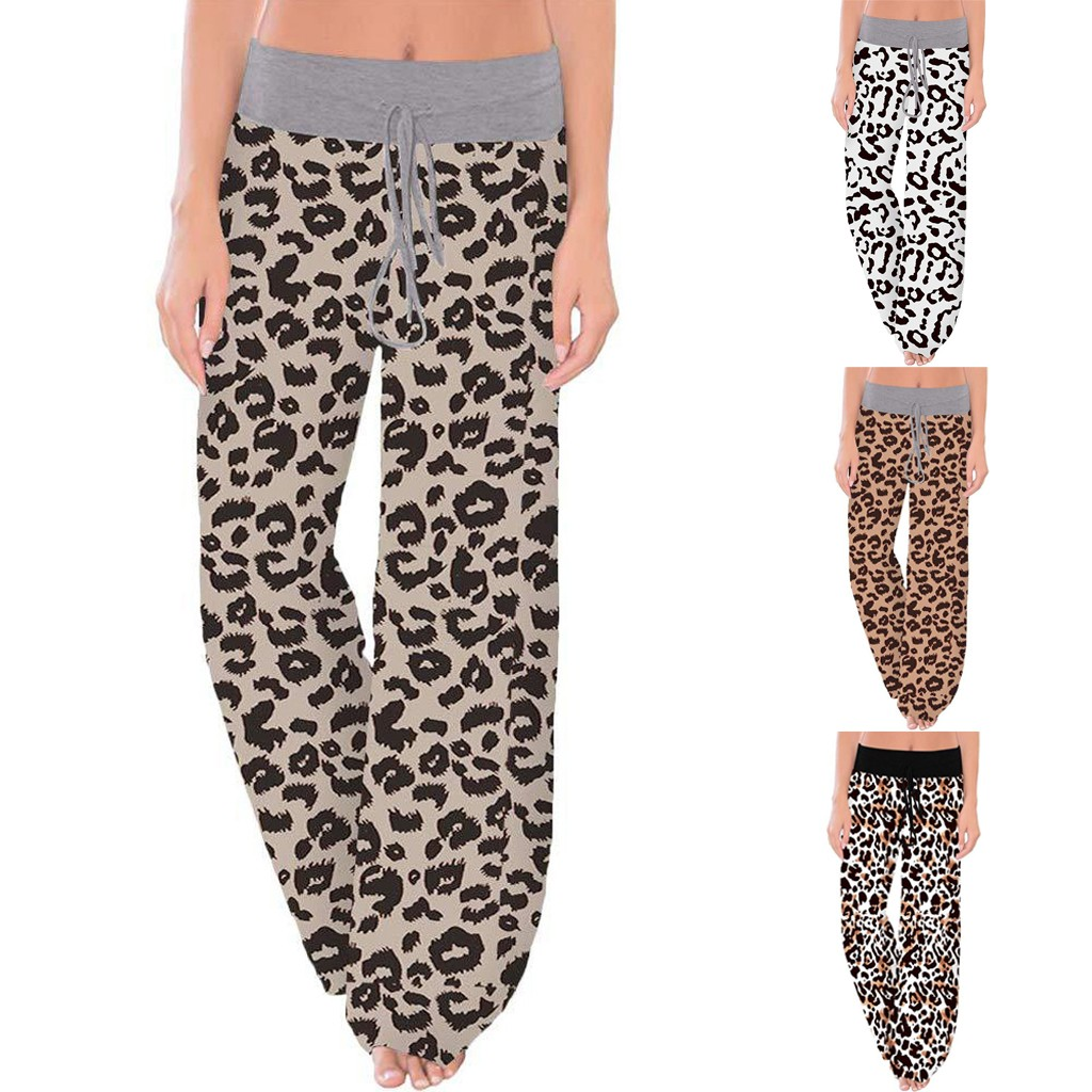 Comfy Stretch Leopard Print Pants Women Drawstring Wide Leg Lounge Pants Loose Breathable Streetwear Pants