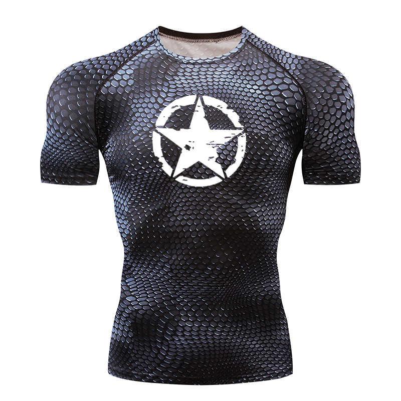 Kualitas Cepat Kering T-shirt Pria CrossFit Gym Pria K Berlaku Kompresi Pakaian Olahraga Kebugaran Top Menjalankan Jersey Olahraga Kemeja Pria