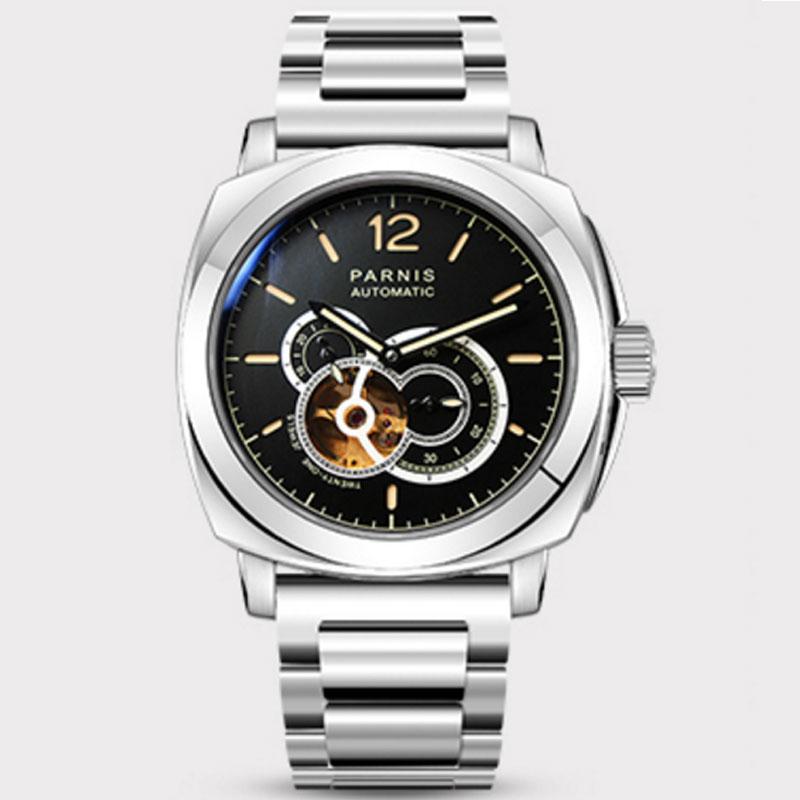 44mm PARNIS Black Dial Sapphire กระจกสแตนเลสสตีล LUME Top ยี่ห้อ Luxury 21 Jewels การเคลื่อนไหวอัตโนมัติ Miyota ผู้ชายนาฬิกา-ใน นาฬิกาข้อมือกลไก จาก นาฬิกาข้อมือ บน   1