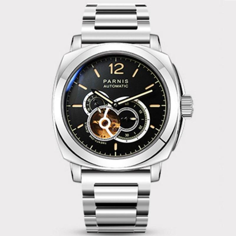 44mm PARNIS cadran noir verre saphir plein acier inoxydable LUME Top marque luxe 21 bijoux miborough mouvement automatique montre pour hommes