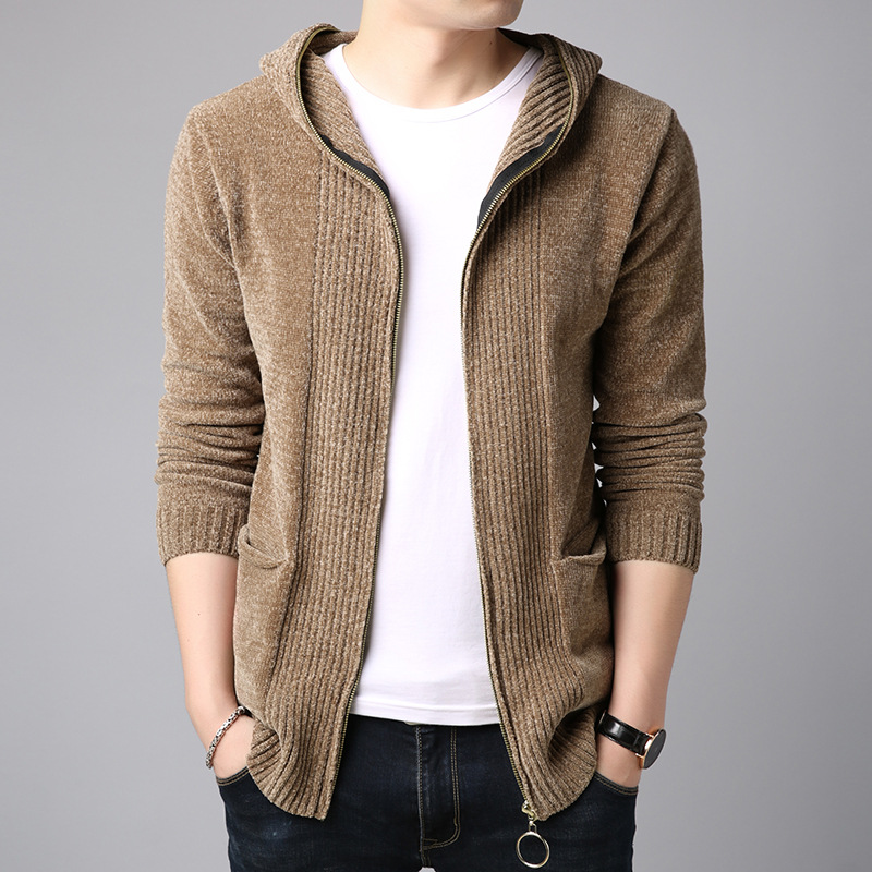 HO 2019 New Youth Men's Fashion Leisure Sweater Hooded Zipper Knitting Cardigan Sweater To Winter